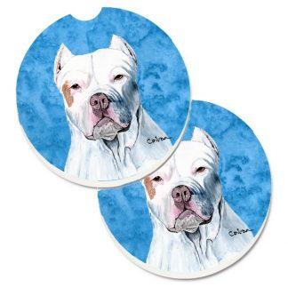 Pitbull Terrier Car Coasters - Bright Blue (Set of 2)