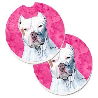 Pitbull Terrier Car Coasters - Pink (Set of 2)