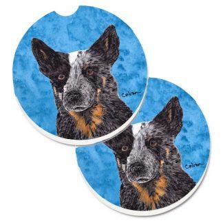 Australian Cattle Dog Car Coasters (Blue) - Bright Blue (Set of 2)