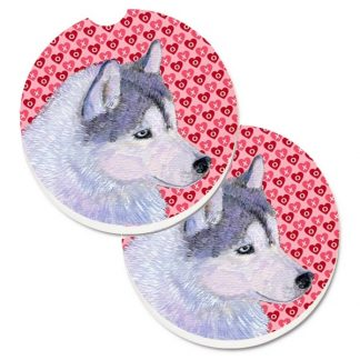 Siberian Husky Car Coasters - Hearts (Set of 2)