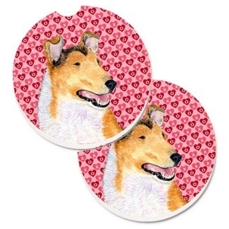 Collie Car Coasters (Smooth) - Hearts (Set of 2)