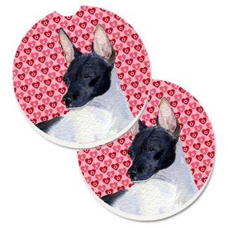 Rat Terrier Car Coasters - Hearts (Set of 2)