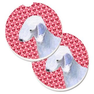 Bedlington Terrier Car Coasters - Hearts (Set of 2)