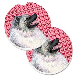 Keeshond Car Coasters - Hearts (Set of 2)