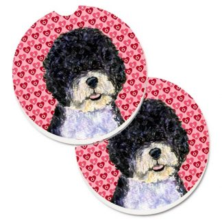 Portuguese Water Dog Car Coasters - Hearts (Set of 2)