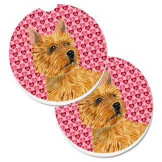 Norwich Terrier Car Coasters - Hearts (Set of 2)