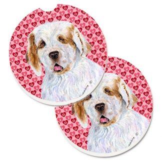 Clumber Spaniel Car Coasters - Hearts (Set of 2)