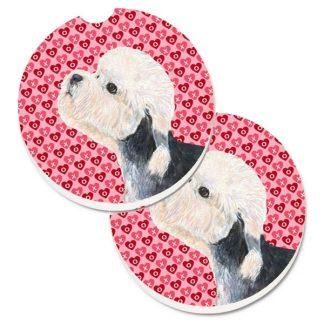 Dandie Dinmont Car Coasters - Hearts (Set of 2)