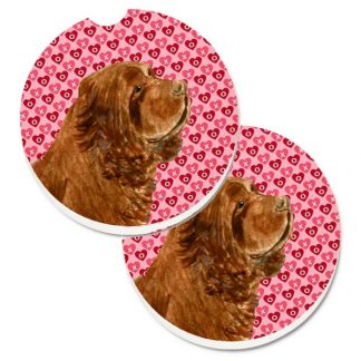 Sussex Spaniel Car Coasters - Hearts (Set of 2)
