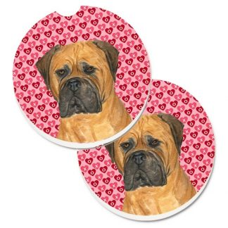 Bullmastiff Car Coasters - Hearts (Set of 2)