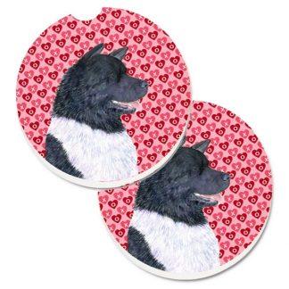Akita Car Coasters - Hearts (Set of 2)
