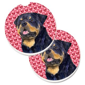 Rottweiler Car Coasters - Hearts (Set of 2)