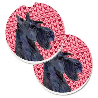 Scottish Terrier Car Coasters (Black) - Hearts (Set of 2)