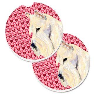 Scottish Terrier Car Coasters (Wheaten) - Hearts (Set of 2)