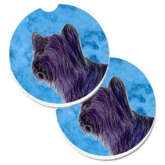 Skye Terrier Car Coasters - Bright Blue (Set of 2)