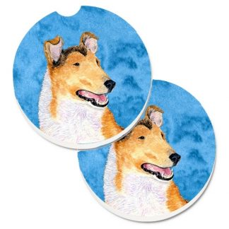 Collie Car Coasters (Smooth) - Bright Blue (Set of 2)