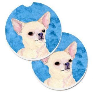 Chihuahua Car Coasters - Bright Blue (Set of 2)