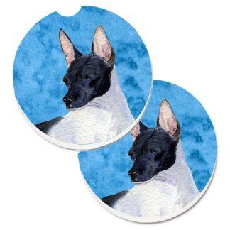 Rat Terrier Car Coasters - Bright Blue (Set of 2)