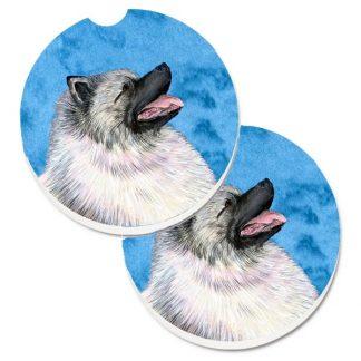 Keeshond Car Coasters - Bright Blue (Set of 2)