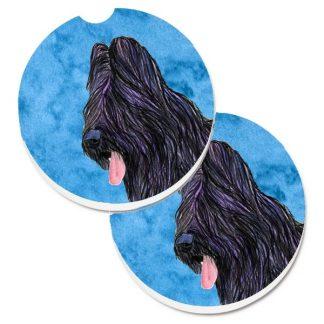 Briard Car Coasters - Bright Blue (Set of 2)