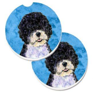 Portuguese Water Dog Car Coasters - Bright Blue (Set of 2)