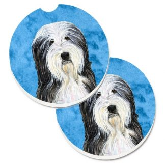 Bearded Collie Car Coasters - Bright Blue (Set of 2)