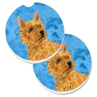 Norwich Terrier Car Coasters - Bright Blue (Set of 2)