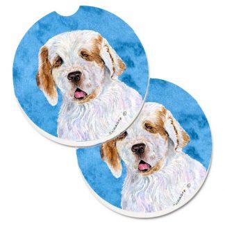 Clumber Spaniel Car Coasters - Bright Blue (Set of 2)