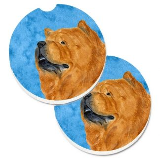 Chow Chow Car Coasters  (Red) - Bright Blue (Set of 2)