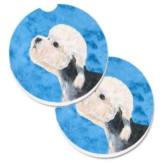 Dandie Dinmont Car Coasters - Bright Blue (Set of 2)