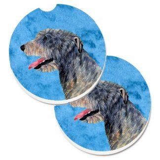 Irish Wolfhound Car Coasters - Bright Blue (Set of 2)