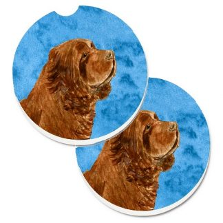 Sussex Spaniel Car Coasters - Bright Blue (Set of 2)