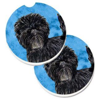 Affenpinscher Car Coasters - Bright Blue (Set of 2)