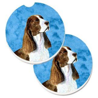 Springer Spaniel Car Coasters (Liver) - Bright Blue (Set of 2)