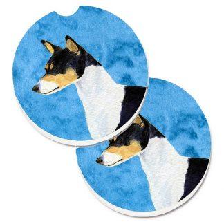 Basenji Car Coasters (Tri) - Bright Blue (Set of 2)