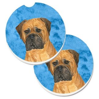 Bullmastiff Car Coasters - Bright Blue (Set of 2)