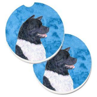 Akita Car Coasters - Bright Blue (Set of 2)