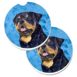 Rottweiler Car Coasters - Bright Blue (Set of 2)