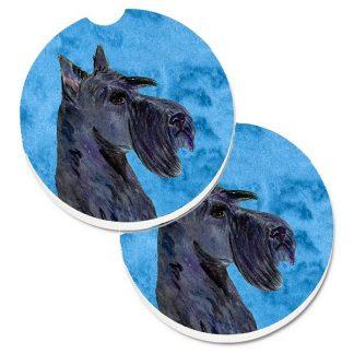 Scottish Terrier Car Coasters (Black) - Bright Blue (Set of 2)