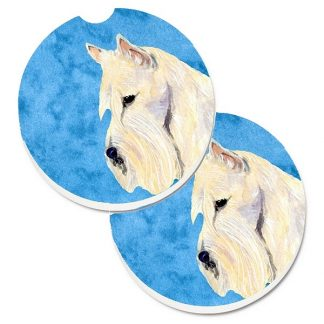 Scottish Terrier Car Coasters (Wheaten) - Bright Blue (Set of 2)