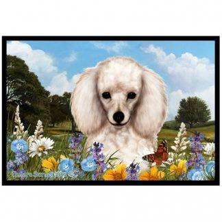 White Poodle Mat - Summer Flowers