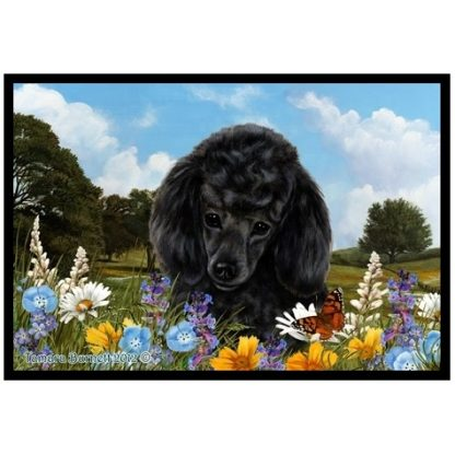 Black Poodle Mat - Summer Flowers