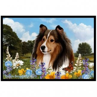 Shetland Sheepdog Mat - Summer Flowers