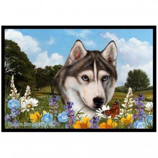 Siberian Husky Mat - Summer Flowers (Grey)
