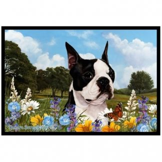 Boston Terrier Mat - Summer Flowers