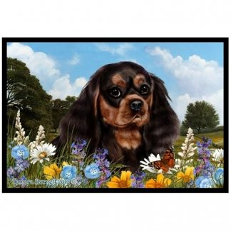 Black & Tan Cavalier Spaniel Mat - Summer Flowers
