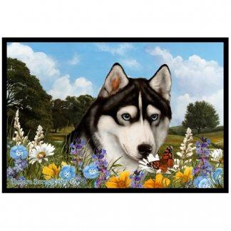 Siberian Husky Mat - Summer Flowers (Black)
