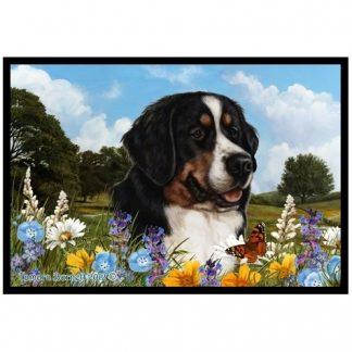 Bernese Mountain Dog Mat - Summer Flowers