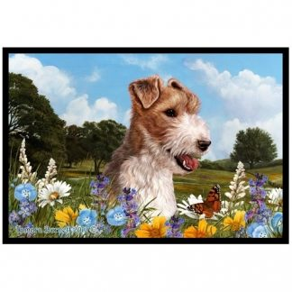 Wire Fox Terrier Mat - Summer Flowers