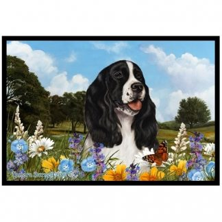 Springer Spaniel Mat - Summer Flowers (Black)